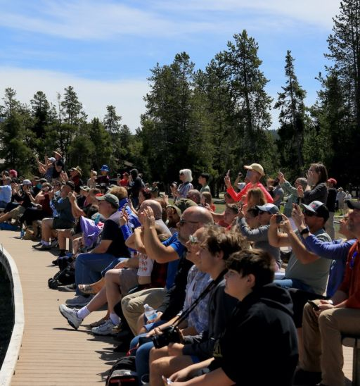 Old Faithful's crowd on June 1. Photo by Douglas Scott.