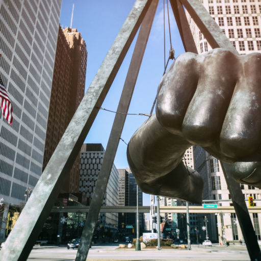 """The Best of Detroit - The Monument to Joe Louis, known also as """"The Fist"""", a memorial to the boxer at Detroit's Hart Plaza. Shutterstock"""
