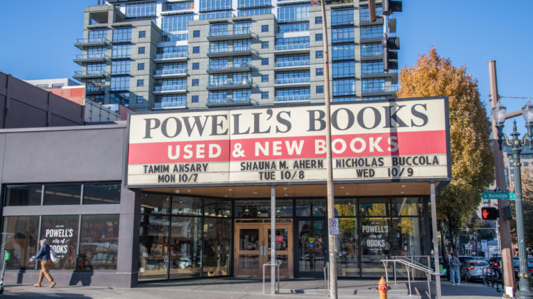 Powell's Books In the city of Portland, Oregon. Powell's Books is the largest independent bookstore in the world.
